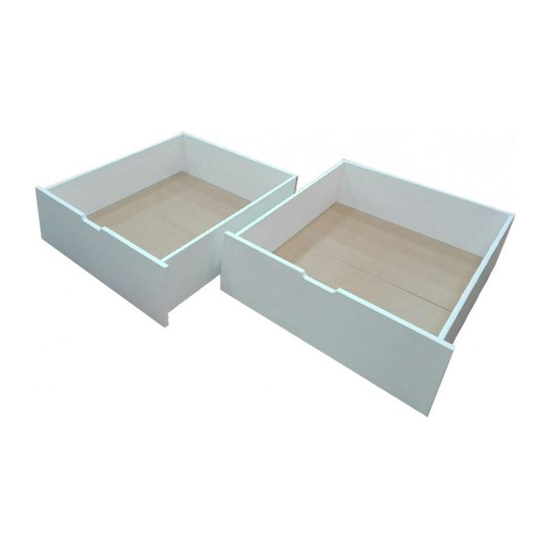 Dve drvene fioke za posteljinu bele boje