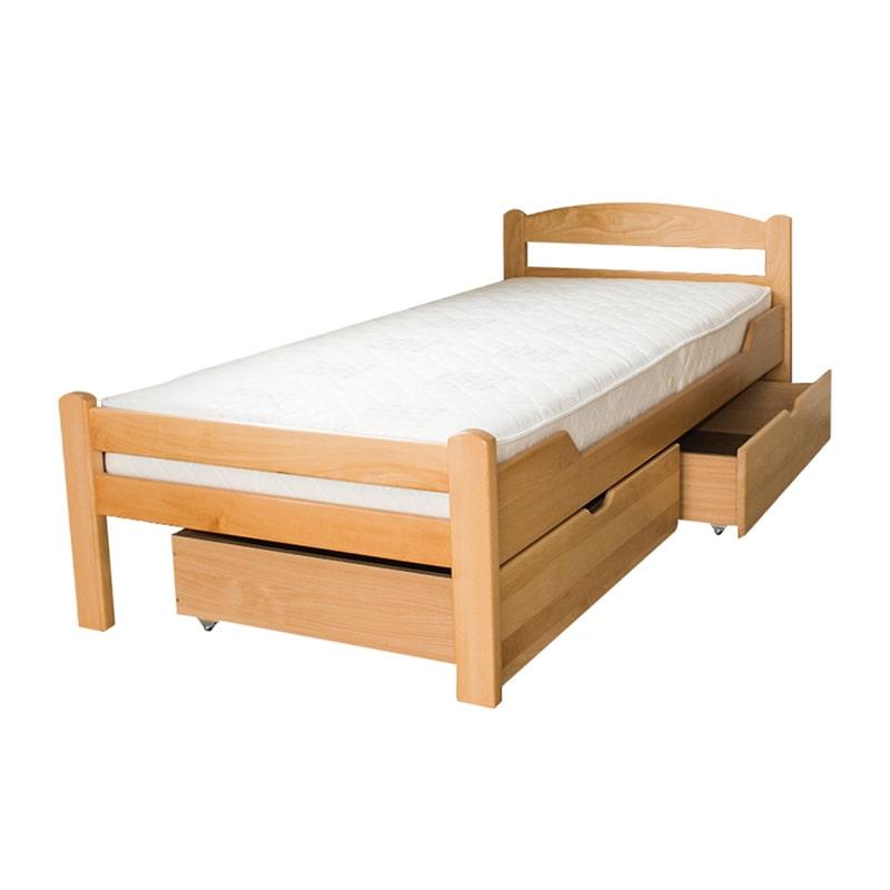 Dve drvene fioke za posteljinu 90x200cm Natur boja pogled 1